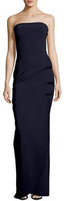 Chiara Boni Clotilde Strapless Long Gown w/ Halter Strap