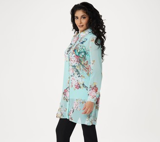 Dennis Basso Printed Button-Front Duster and Knit Tank Set