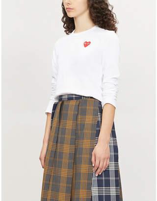 Comme des Garcons Ladies White Heart-Appliquéd Cotton-Jersey Top