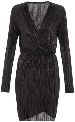 Quiz Black Metallic Pleated Wrap Bodycon Dress