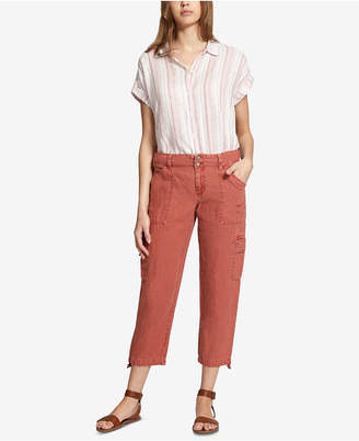 Sanctuary Linen Cropped Cargo Pants