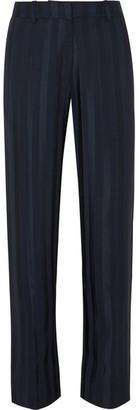 Stine Goya Daria Striped Satin-jacquard Straight-leg Pants - Midnight blue