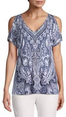 INC International Concepts Embellished Cold-Shoulder Top