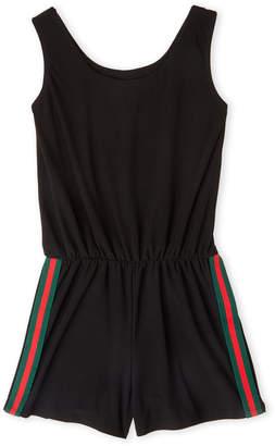 Cheryl Creations (Girls 7-16) Black Track Stripe Jersey Romper