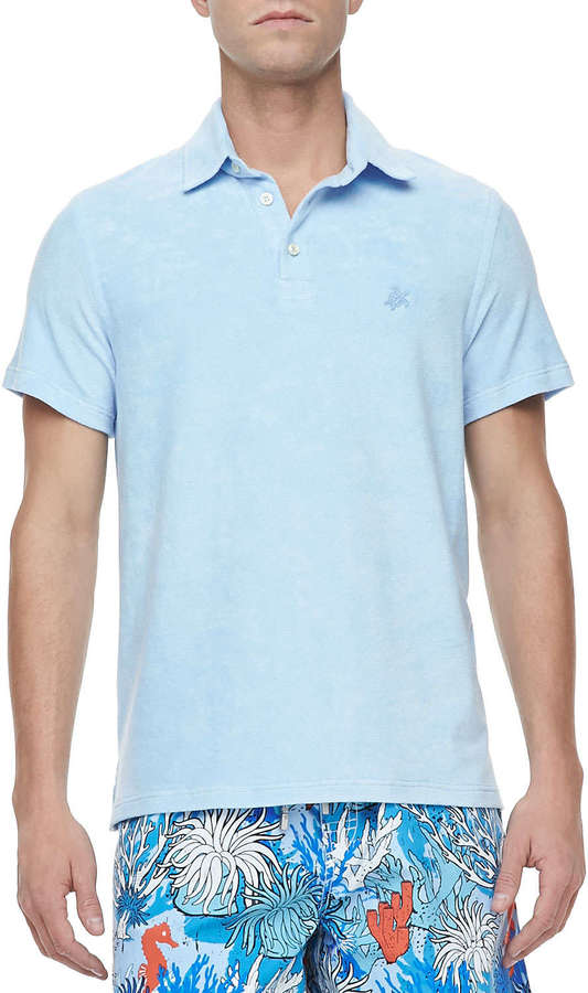 Vilebrequin Short-Sleeve Terry Polo, Light Blue