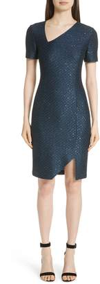 St. John Shimmer Sequin Knit Asymmetrical Dress
