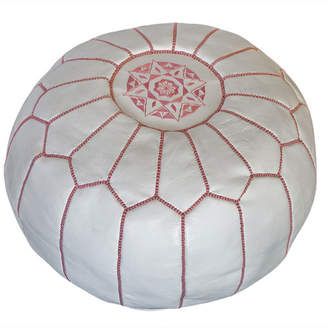 White & Pink Marrakesh Traditional Stitch Ottoman Cover