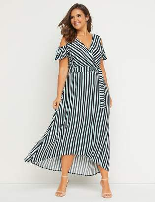 c63aeb05acd Lane Bryant Faux-Wrap Maxi Fit   Flare Dress