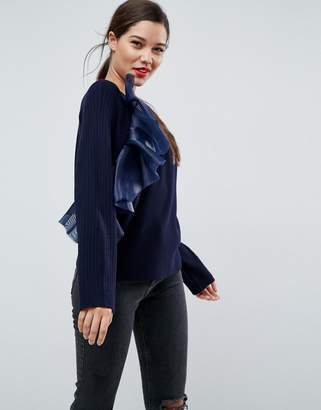 Asos DESIGN Sweater with Ruffle Detail
