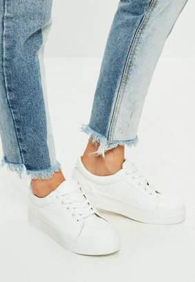 Missguided White Faux Leather Flatform Sneakers