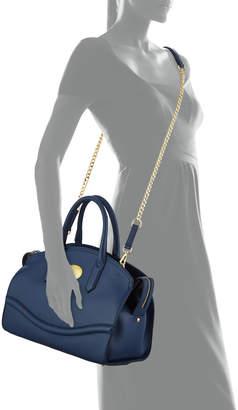 Roberto Cavalli Zip-Top Leather Satchel Bag, Electric Blue