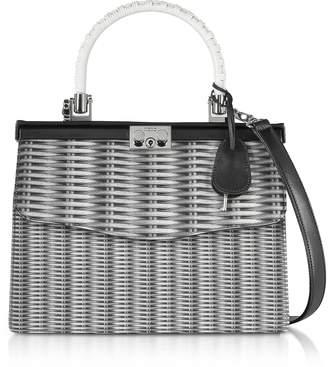 Rodo Printed Neoprene and Leather Top Handle Paris Bag