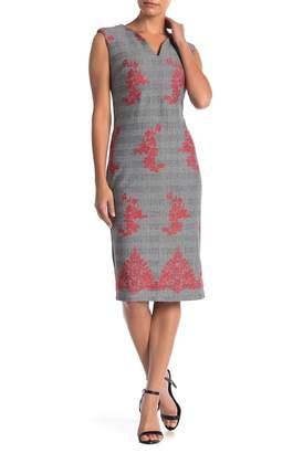 ECI Cap Sleeve Plaid Floral Dress