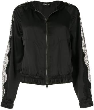 Tom Ford floral lace inserts hooded jacket