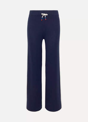 Tory Sport Striped Merino Wool-blend Track Pants - Navy