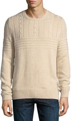 Neiman Marcus Cashmere Cable-Yoke Sweater