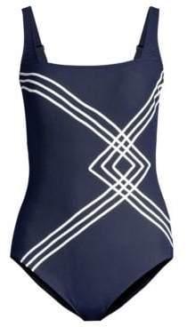 Gottex Swim Navy& White Squareneck One-Piece