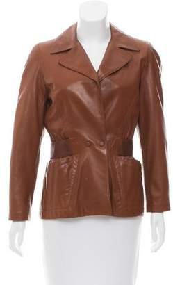 Thierry Mugler Leather Notch-Lapel Jacket