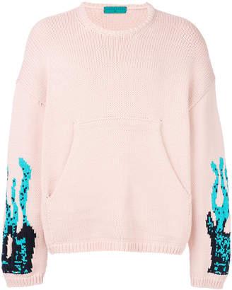Paura flame-intarsia oversized jumper