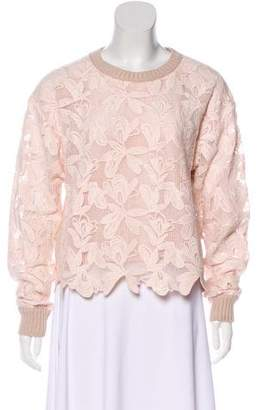 See by Chloe Lace-Paneled Knit Sweater