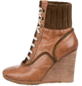 Chloé Leather Wedged Ankle Booties Tan Chloé Leather Wedged Ankle Booties