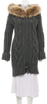 Gucci Fur-Trimmed Cable Knit Cardigan