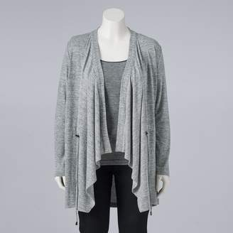 Vera Wang Simply Plus Size Simply Vera Draped Open-Front Cardigan