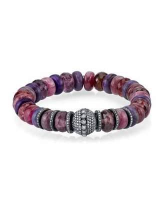 Sheryl Lowe 10mm Pink Mix Rondelle Bead Bracelet with Diamond Bead & Rondelle