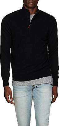 Piattelli MEN'S CASHMERE HALF-ZIP SWEATER - BLACK SIZE M