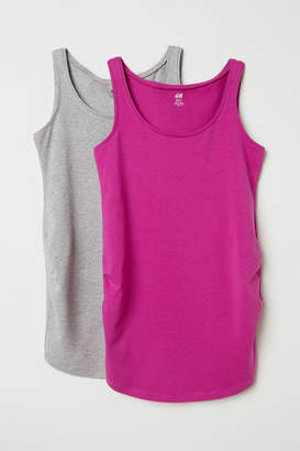 H&M MAMA 2-pack Jersey Tank Tops - Pink