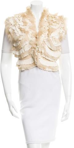 Roberto CavalliRoberto Cavalli Fox Fur-Trimmed Wool Vest