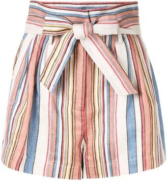Frame striped tie-waist shorts