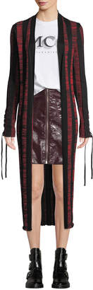 McQ Bodycon Striped Lace-Up Cardigan