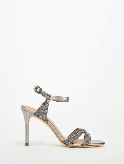 Halston Melanie Metallic Knit High Heel Sandal