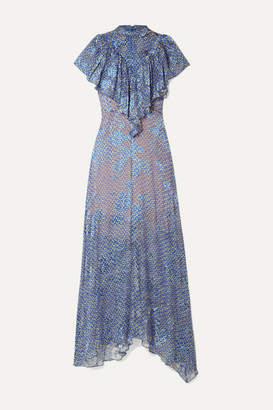 Preen by Thornton Bregazzi Lyla Ruffled Printed Devoré-chiffon Maxi Dress - Blue