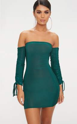 PrettyLittleThing Emerald Green Slinky Bardot Bodycon Dress
