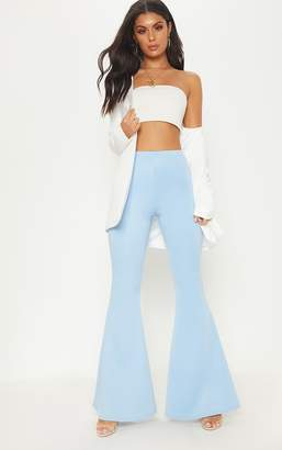 PrettyLittleThing Dusty Blue Scuba Extreme Flare Trouser