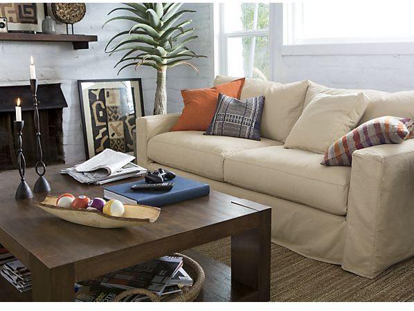 Crate & Barrel Axis Slipcovered 2-Seat Queen Sleeper Sofa