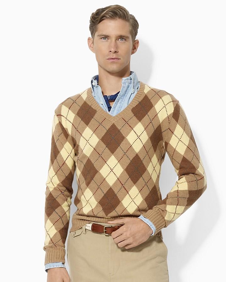 Polo Ralph Lauren Long-Sleeved V-Neck Camel Argyle