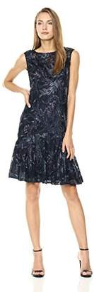 Adrianna Papell Women's Sequin Floral Lace Short Dress with Trumpet Skirt