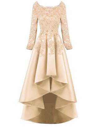 Scarisee Women's 2019 Long Sleeves High Low Prom Evening Dresses Beaded Lace Bridesmaid Cocktail Party Gowns 2019