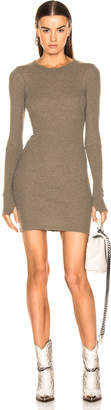 Enza Costa Cashmere Thermal Long Sleeve Crew Mini Dress