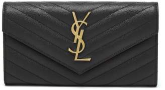 Saint Laurent Grained Leather Continental Wallet - Womens - Black