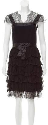 Oscar de la Renta Ruffled Lace-Paneled Dress