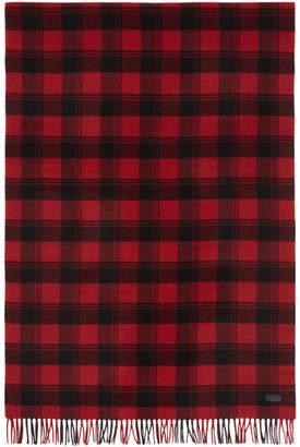 Saint Laurent Red and Black Plaid Scarf