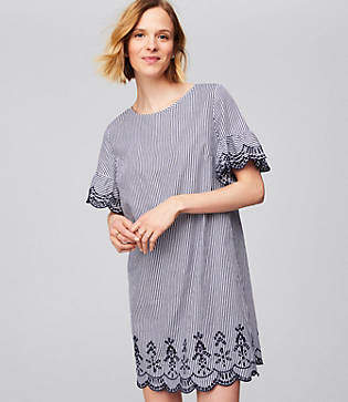 LOFT Striped Scalloped Eyelet Dress