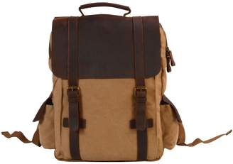 EAZO - Side Pockets Canvas Backpack in Khaki