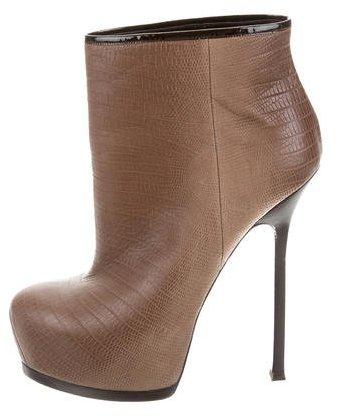 Saint LaurentYves Saint Laurent Embossed Leather Platform Ankle Boots