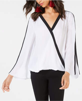 INC International Concepts I.n.c. Petite Striped Surplice Top, Created for Macy's