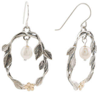 Made In Israel 14k And Sterling Silver Pearl Flower Earrings